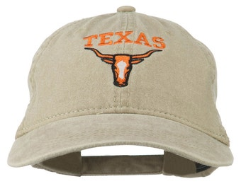 Texas Longhorn Embroidered Washed Cap