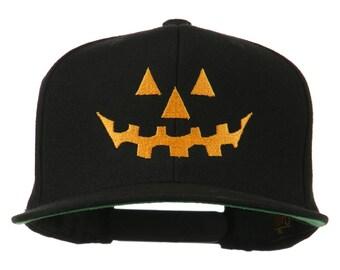 Halloween Pumpkin Face Embroidered Snapback Cap