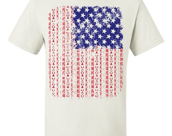 US Flag Aztec Pattern T-Shirt American Flag 4th of July USA Patriotic Tee 100076-T