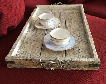antique white tray