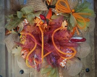 Fall Deco Mesh Wreath. Autumn Deco Mesh Wreath. Autumn Wreath. Fall Wreath.