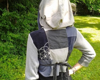 Customize your own patchwork wrap-around vest