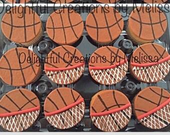 12 basketball fondant cupcake toppers