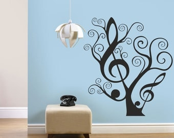 Tree Of Music Wall Decal, Romantic Wall Decal, Music Decor, Wall Art,