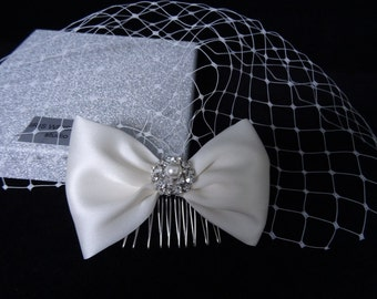 Ivory birdcage veil bridal hair comb wedding fascinator 100% silk Gazar bow diamante pearl embellishment 50s 60s vintage inspired headpiece