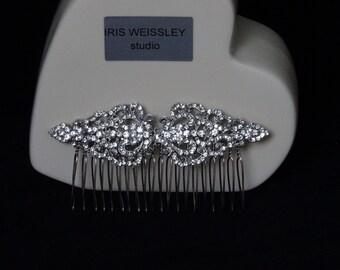 Art deco diamante rhinestone bridal hair comb vintage inspired wedding headpiece