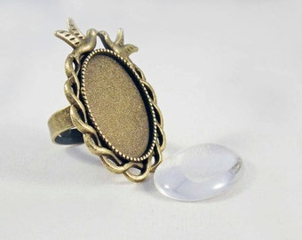 SP10 - Vintage reasons Crown mirror bird Cabochon ring Support includes / Bronze Ring oval Mirror Bird Crown Glass Cabochon included.