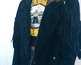 Vintage Fringe Leather Jacket/ Size:M