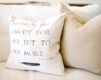 Hand Stamped Typography Pillow