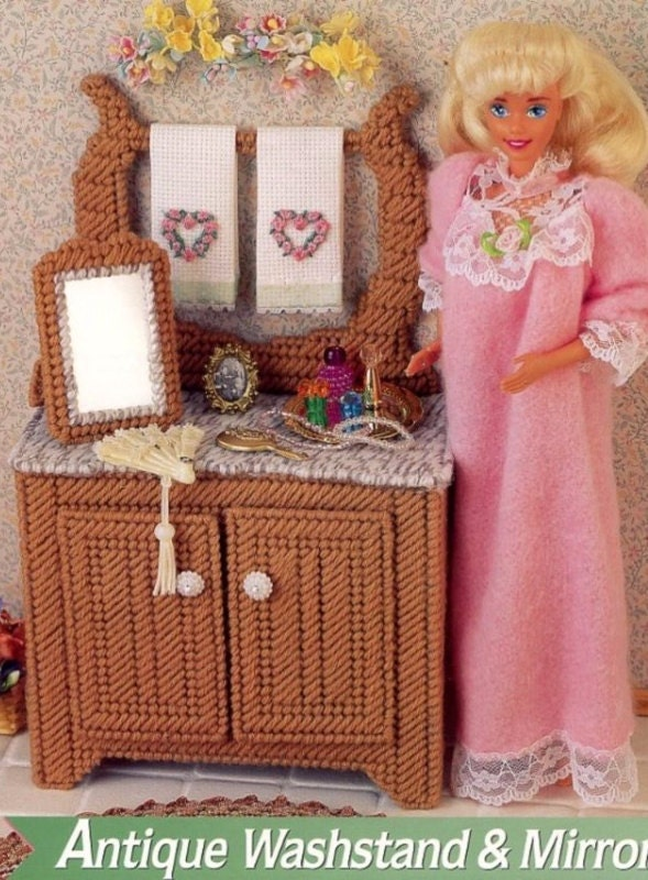 Antique Washstand Mirror Annie S Attic Fashion Doll Furniture Plastic Canvas Pattern Fp03 03