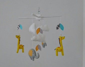 Giraffes and elephants baby mobile, cute nursery mobile