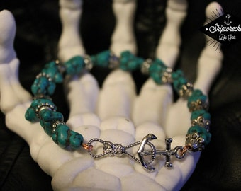 Handmade, Turquoise and Anchor Anklet