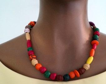 Boho wooden beads necklace Vintage handmade multicolored wood beads necklace Vintage jewelry Nordic vintage necklace Tribal Fashion beads