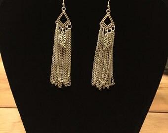 Leaf chain chandelier earrings