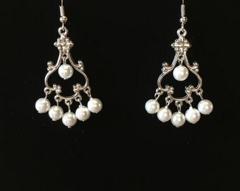 White pearl fancy earrings