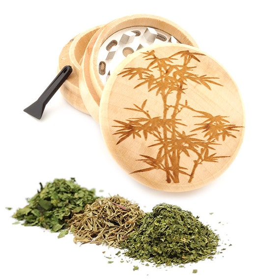 Bamboo Engraved Premium Natural Wooden Grinder Item # PW050916-135