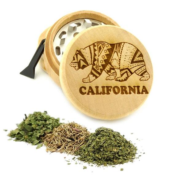 California Engraved Premium Natural Wooden Grinder Item # PW61716-26