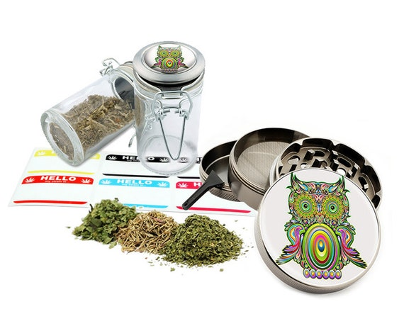 "Owl - 2.5"" Zinc Alloy Grinder & 75ml Locking Top Glass Jar Combo Gift Set Item # 110514-0025"