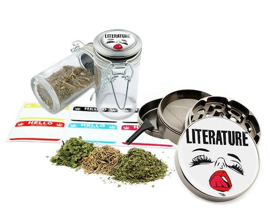 "Literature - 2.5"" Zinc Alloy Grinder & 75ml Locking Top Glass Jar Combo Gift Set Item # 110514-0026"