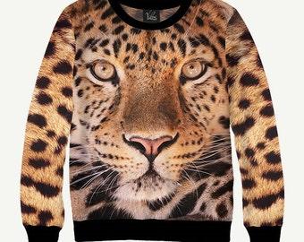 Predatory Animal, Leopard - Men's Women's Sweatshirt   Sweater - XS, S, M, L, XL, 2XL, 3XL, 4XL, 5XL