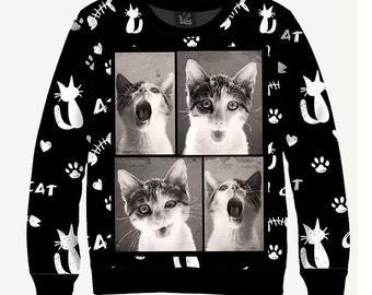 Singing Cat - Men's Women's Sweatshirt | Sweater - XS, S, M, L, XL, 2XL, 3XL, 4XL, 5XL