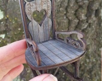 Minaiture Sweetheart Rocking chair in Arlighton Grey finish 1:12 Scale ACTUALY ROCKS!