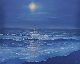 Moonlight and ocean - oil painting (20x16)