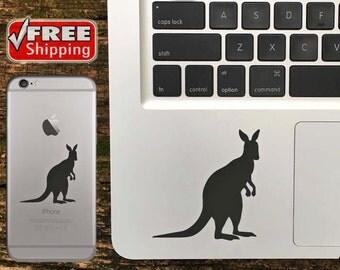Kangaroo Decal, Kangaroo iPhone Sticker, Kangaroo Macbook Decal, Kangaroo Sticker - FREE Shipping in USA - Choose Color Of Decal