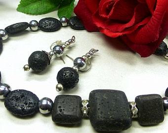 Black lava set in elegant design