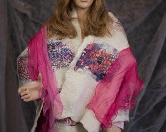 Nuno wet felted alpaca shawl with silk adornments
