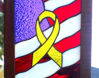 Patriotic Ribbon and Flag Stained glass