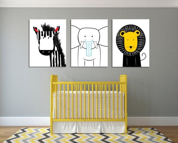 Modern safari animals wall art modern nursery art jungle - Modern nursery wall decor ...