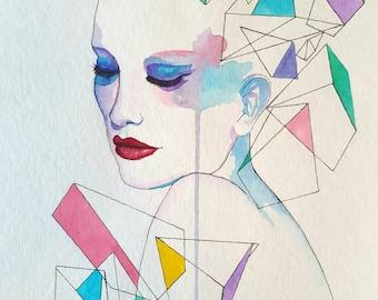 Original Watercolour Painting of Girl