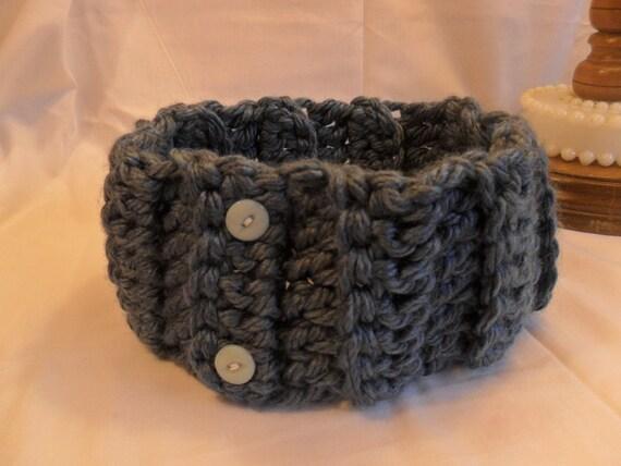 Crochet Ear Warmer Pattern Bulky Yarn : blue bulky weight crocheted earwarmer