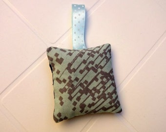 Printed two-tone Lavender bag sky blue and gray, gray, dark, with pale blue link
