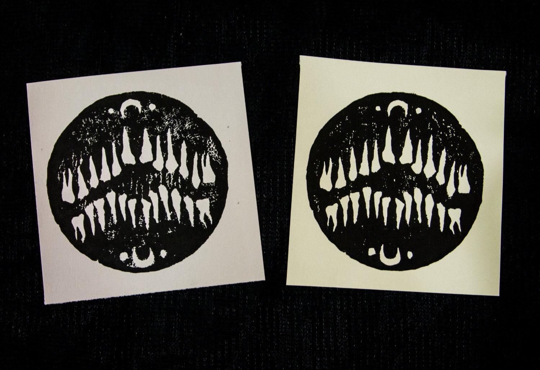 Teeth - Linocut print