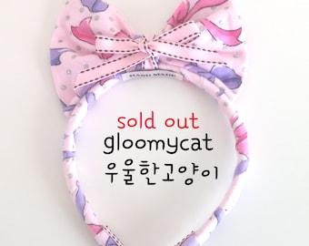 pink big bow hair band-ribbon print