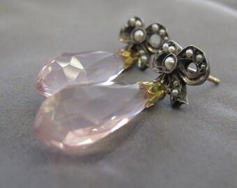 Vintage Rose quartz and Pearl earrings