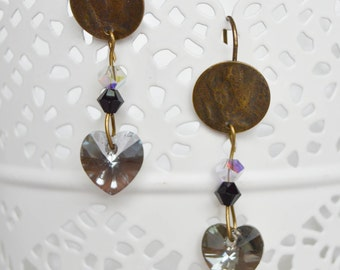 Heart Swarovski Crystal and bronze earrings