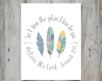 Jeremiah 29 11 | Printable Nusery Art | Feather Print | Nursery Wall Art | Nursery Wall Decor | Boys