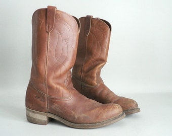 Mens Pull On Leather Western Boots Size 10