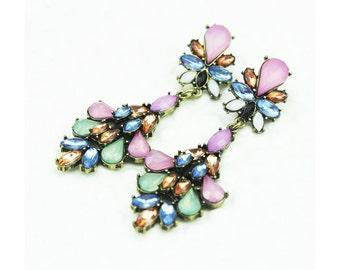 Colored rhinestone chandelier fancy dangle drop earrings