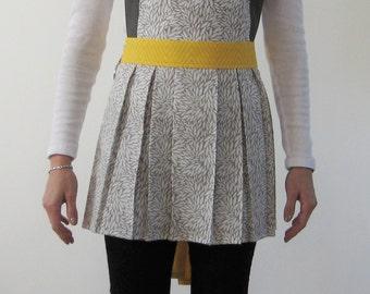 Modern Apron. Grey/White/Yellow Apron. Cotton Apron.