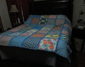 Cozy, Colorful Turquoise Ragtime Quilt