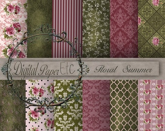Digital Background Paper, Scrapbooking Paper, Digital Sheets, Floral Digital Papers, Digital Instant Download  P 15LB