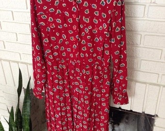Retro- Petite- Red Leslie Fay Dress