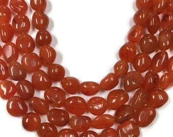 Carnelian Smooth Nuggets, 10x12mm approx, 14 Inch Strand