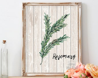 Kitchen decor, rosemary, rosemary print, kitchen art, herb print, kitchen print housewarming gift kitchen wall art herbs wall art home decor