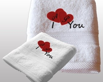 Valentines Day Gift Him / Her Personalized Set of 2 Bath Towels - Ref. I Love You