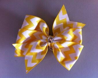 Yellow Chevron Print Pinwheel Hair Bow